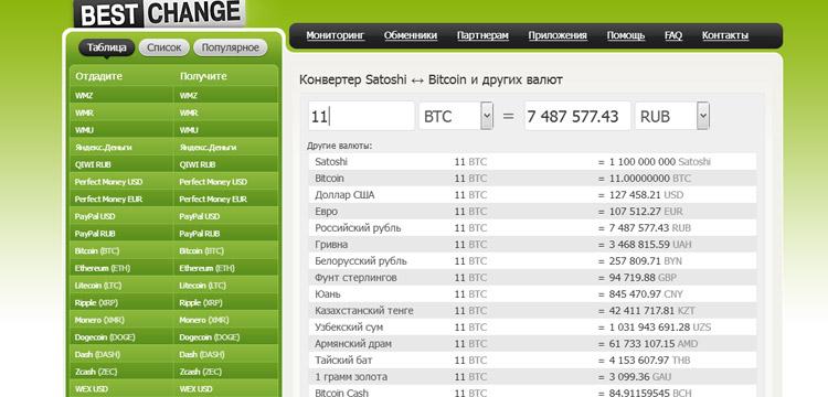 конвертация валют биткоин
