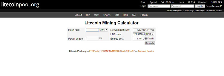 Litecoin Mining Calculator